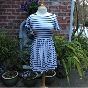 Bordeaux blue and white striped dress size small
